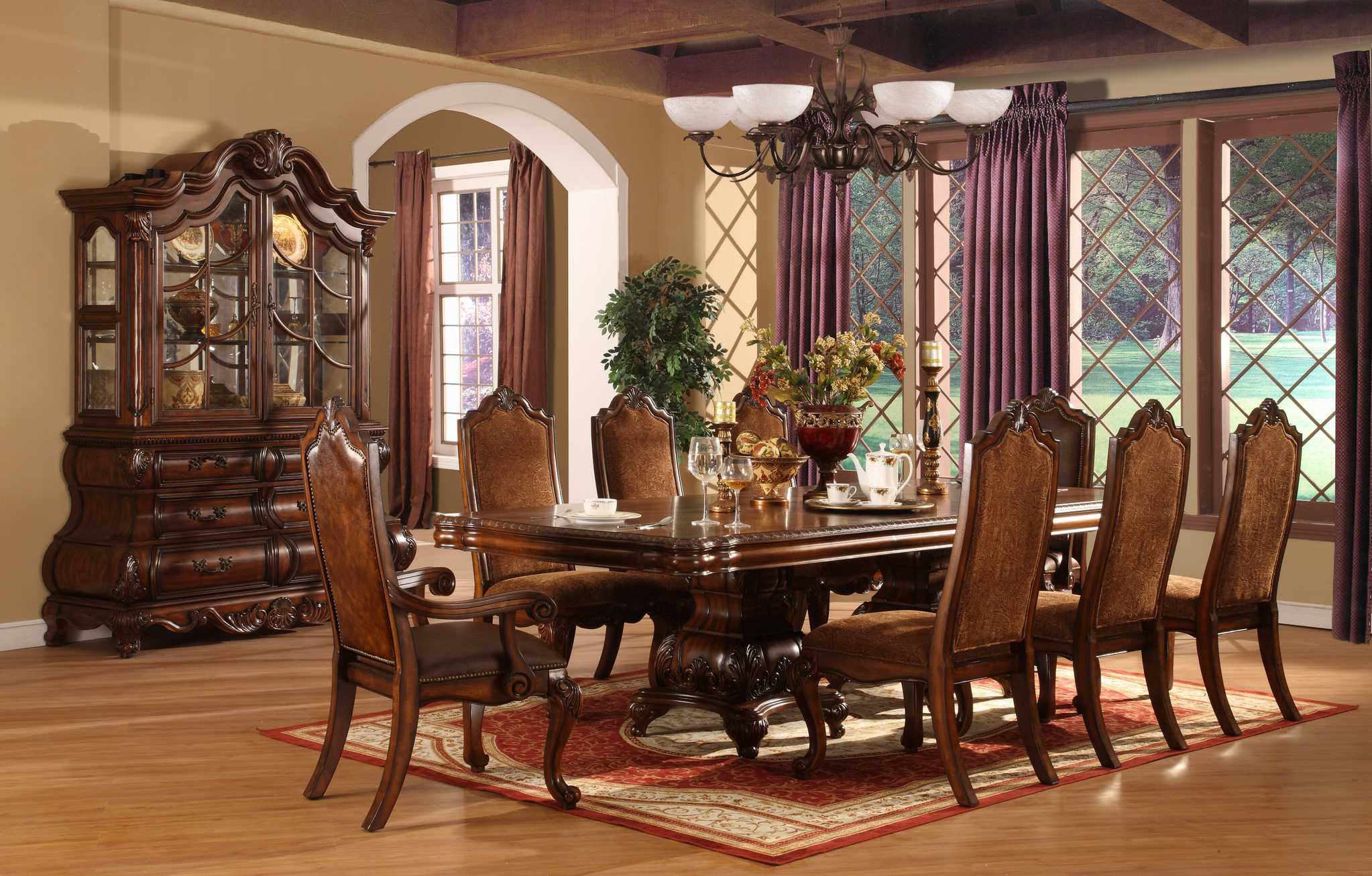 Amazing Formal Dining Room Sets With Buffet And Ceiling Light For