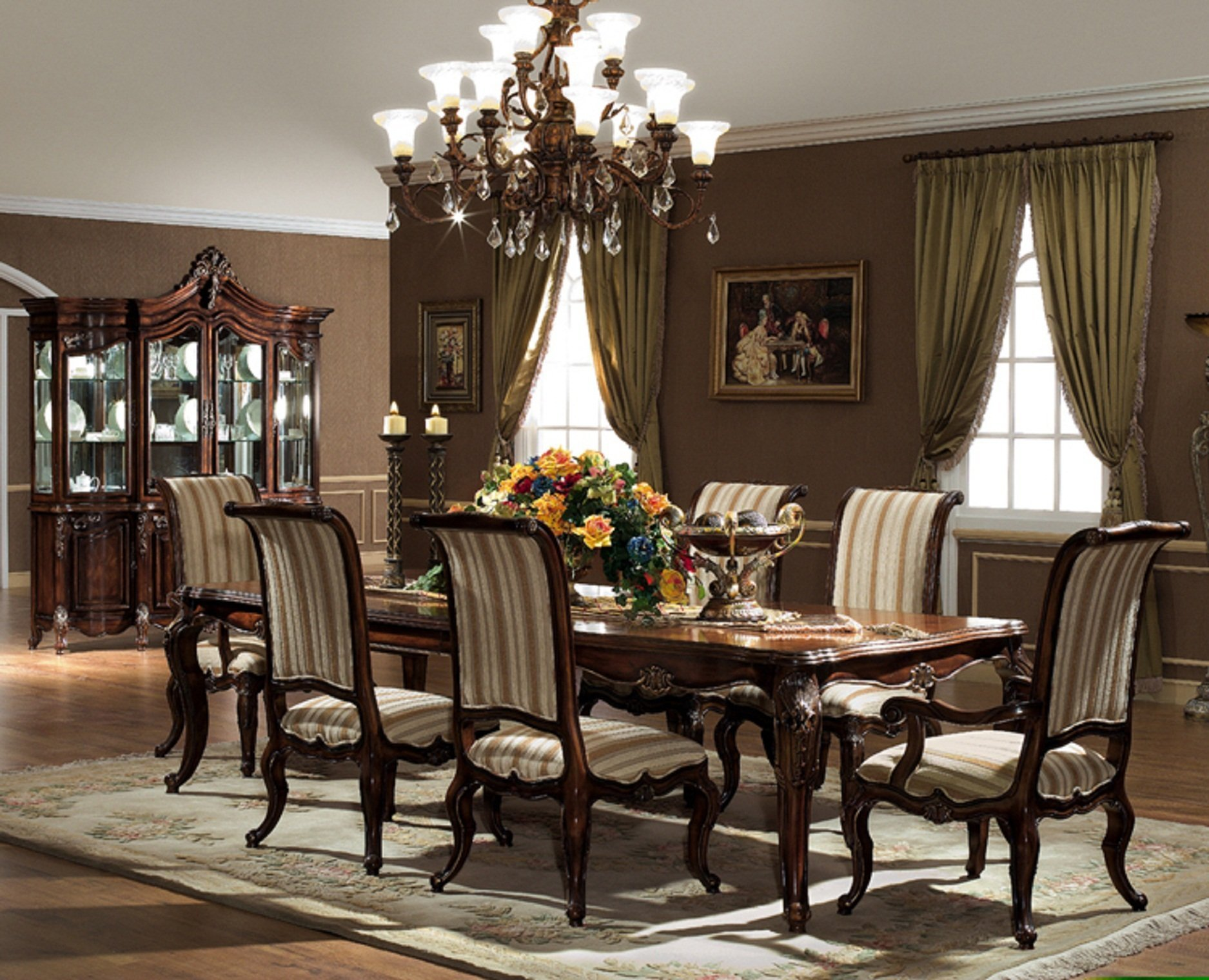 Attractive formal-dining-room-sets-with-buffet and ceiling light for home design with modern formal dining room sets