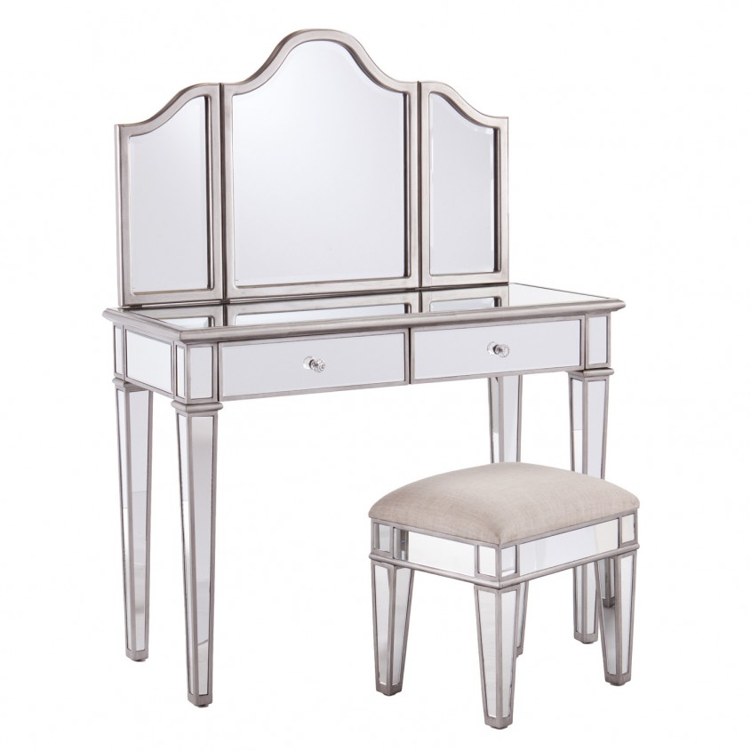Attractive Mirrored Vanity For Home Furniture And Vanity Mirror With Lights
