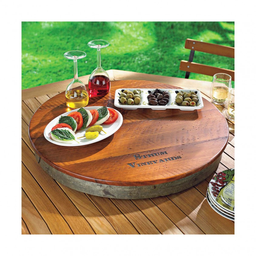 Attractive Wine Barrel Lazy Susan For Furniture Accessories Ideas With Personalized Wine Barrel Lazy Susan