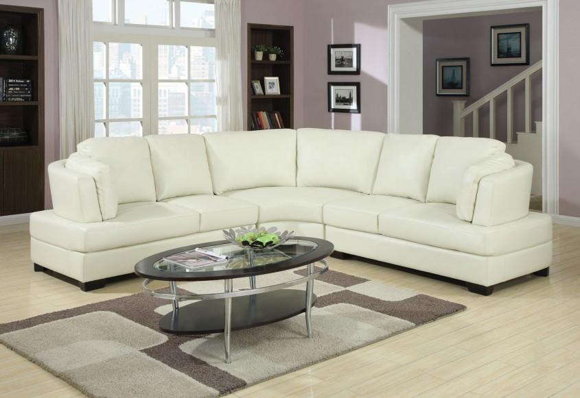 Awesome White Leather Sectional  For Small Spaces Living Room With White Leather Sectional Sofa