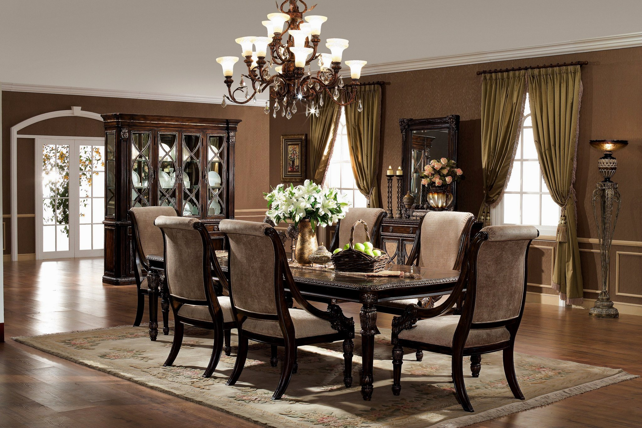 Beautiful formal-dining-room-sets-with-buffet and ceiling light for home design with modern formal dining room sets