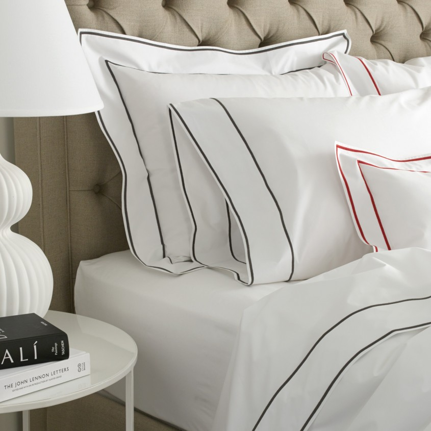 Beautiful Matouk Sheets With Pillows And Round Table For Bedroom With Matouk Sheets Sale