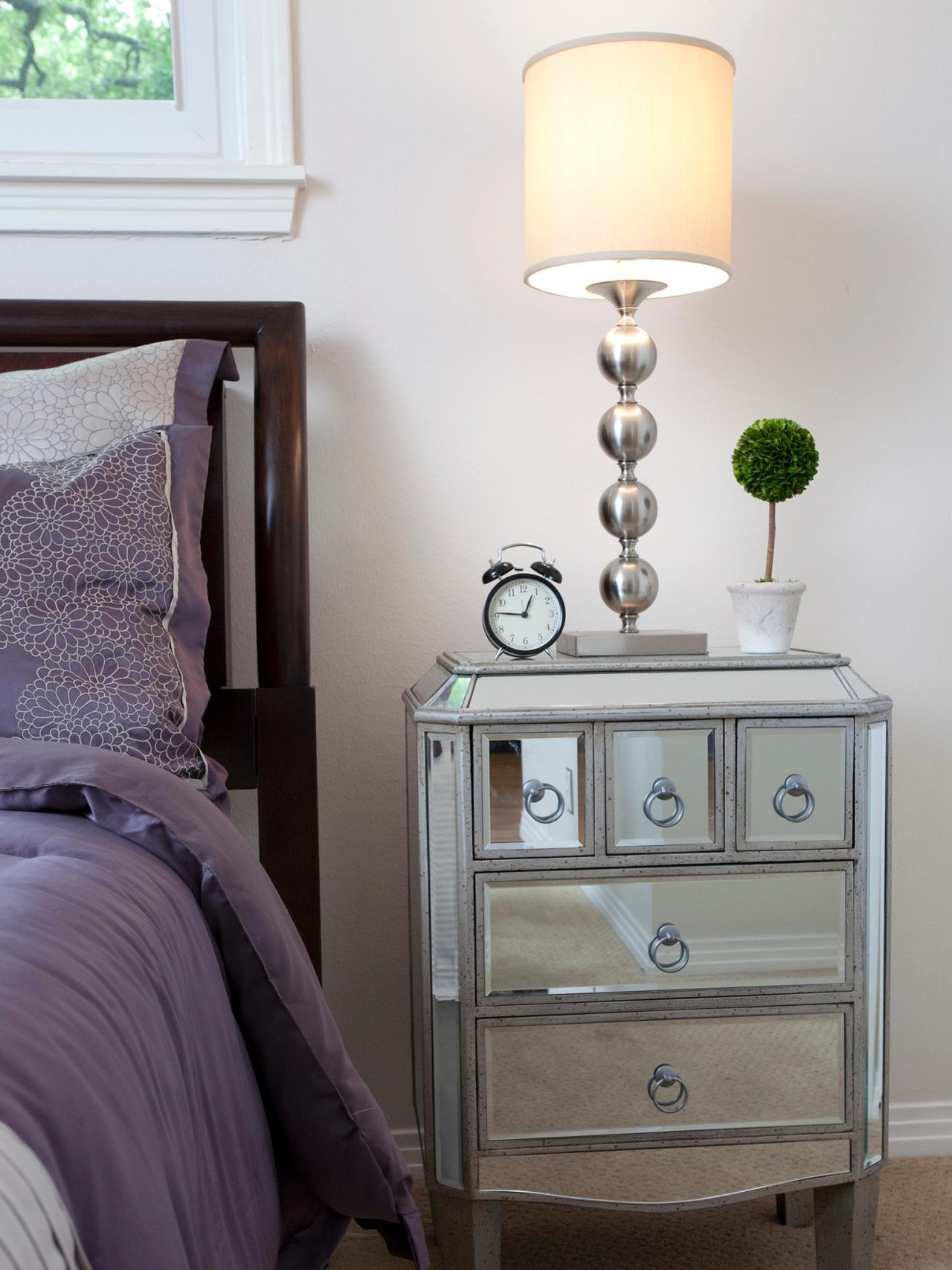 Beautiful mirror nightstand for bedroom furniture with mirrored nightstand
