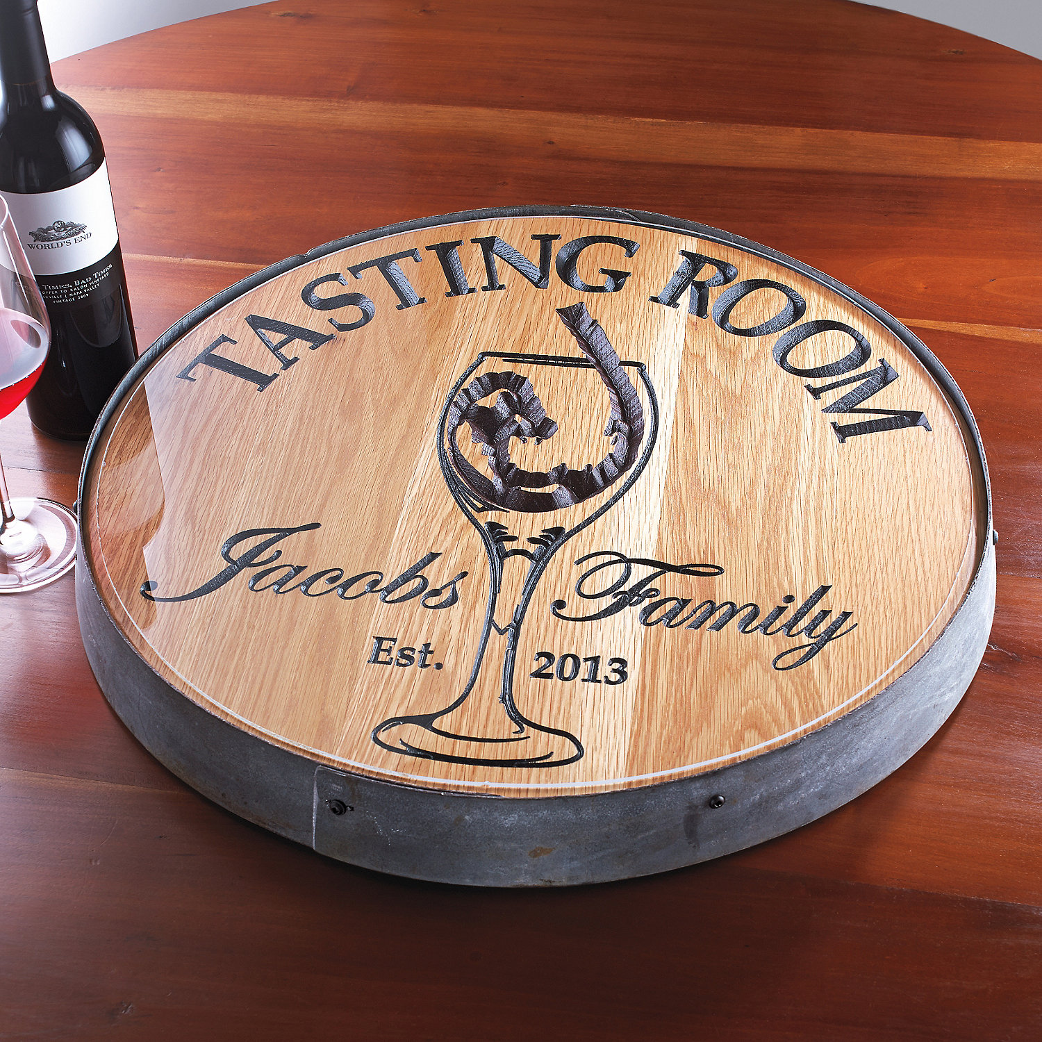 Beautiful wine barrel lazy susan for furniture accessories ideas with personalized wine barrel lazy susan