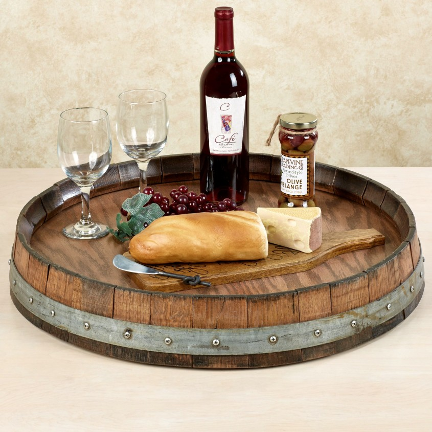 Best Wine Barrel Lazy Susan For Furniture Accessories Ideas With Personalized Wine Barrel Lazy Susan