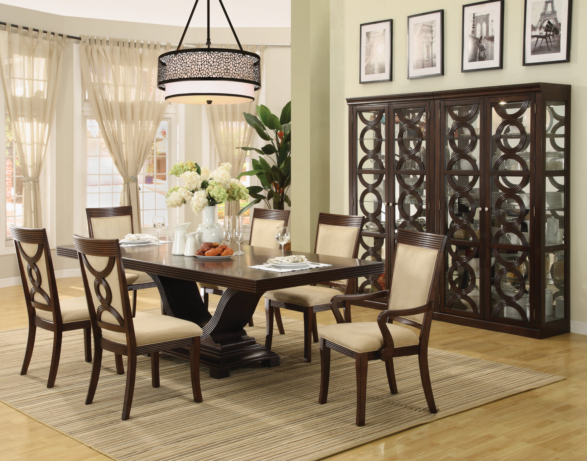 Breathtaking Formal Dining Room Sets With Buffet And Ceiling Light For