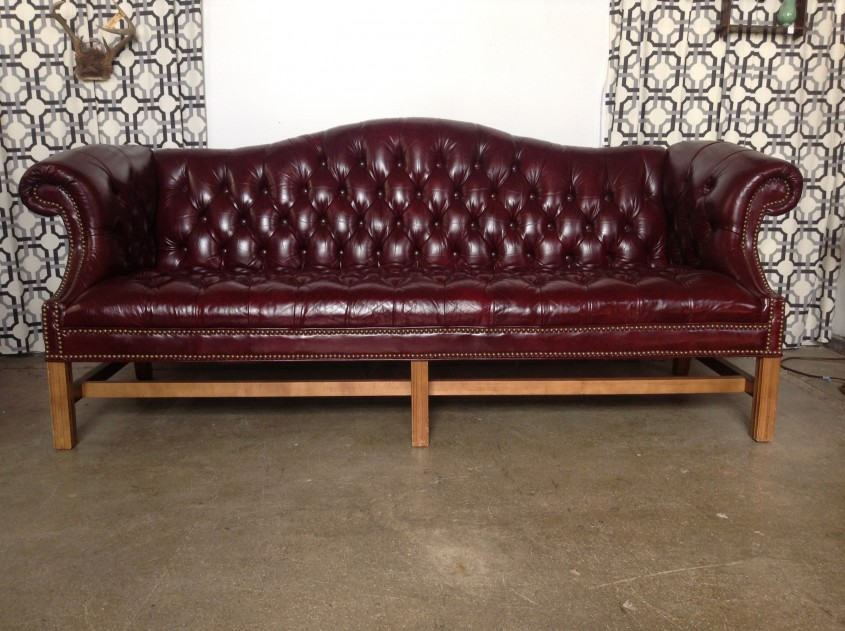 Large Creamy Brown Tufted Leather Sofa With Back And Stitching Inside Tufted Sofa For Sale