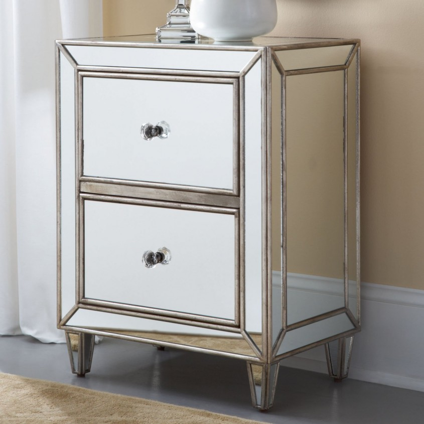 Brilliant Mirror Nightstand For Bedroom Furniture With Mirrored Nightstand