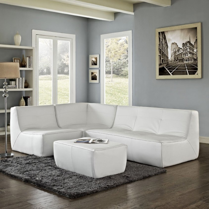 Brilliant White Leather Sectional For Living Room With White Leather Sectional Sofa