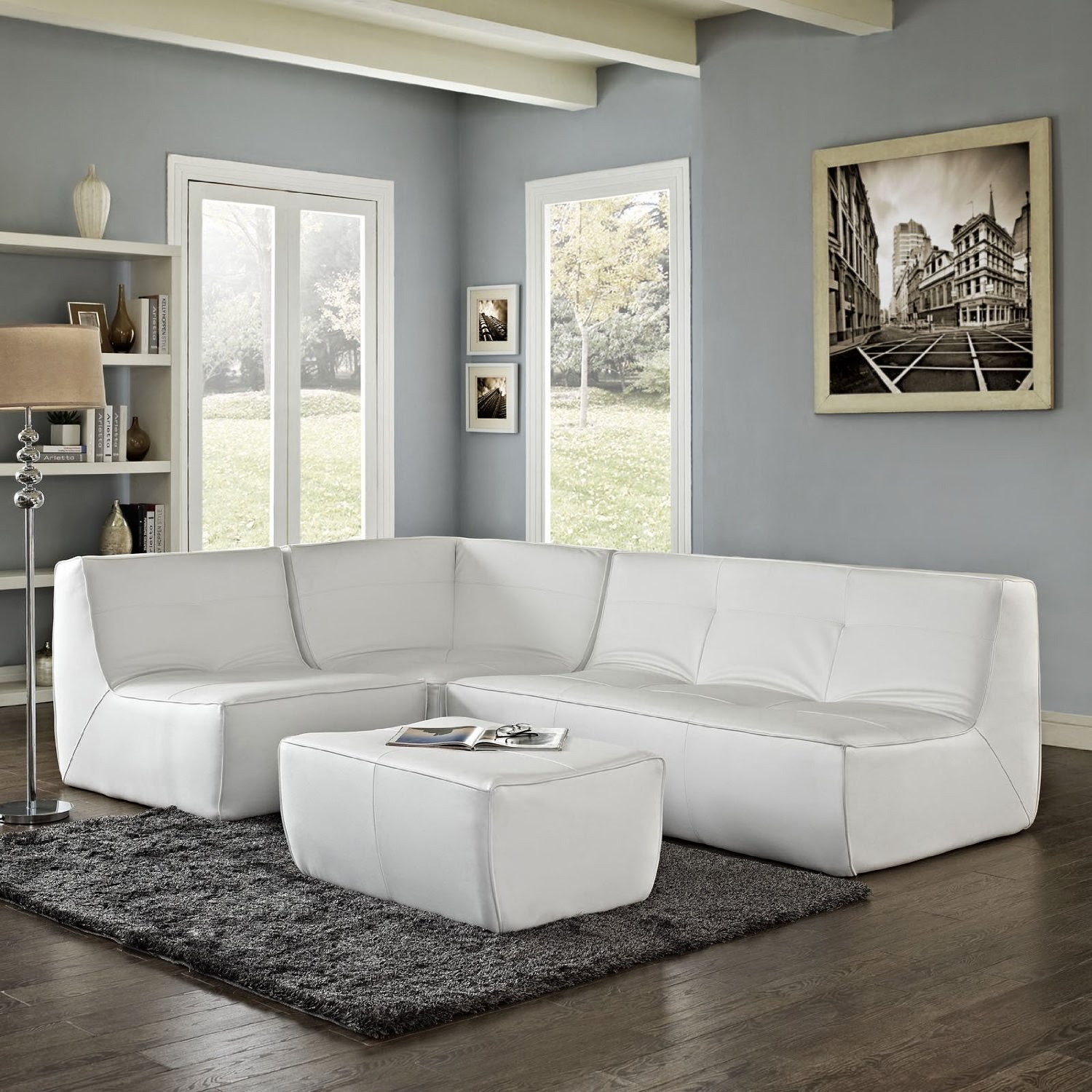Living Room Design: Exciting White Leather Sectional For Living Room ...