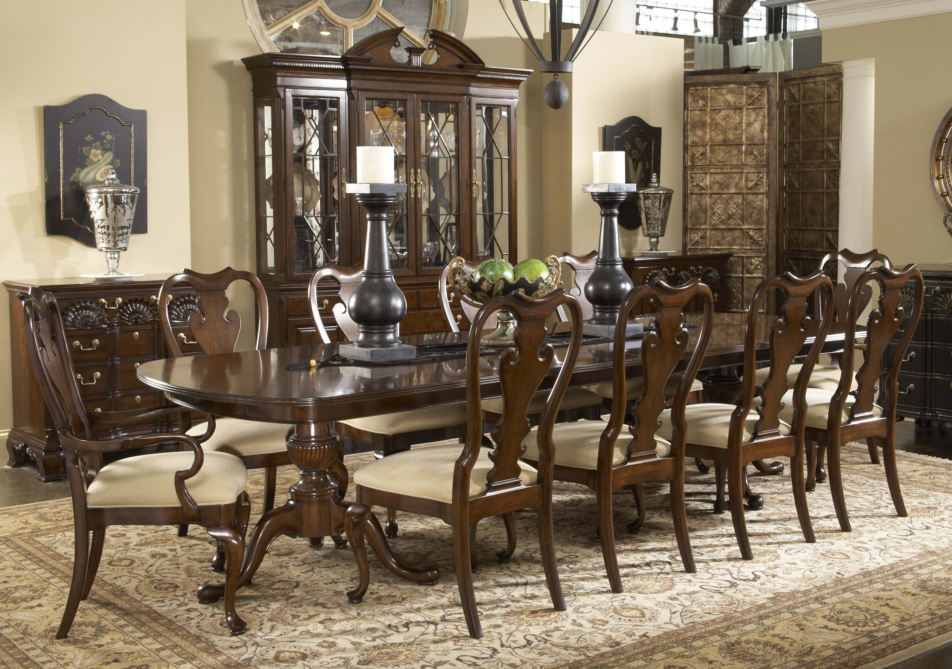 Captivating Formal Dining Room Sets With Buffet And Ceiling Light For