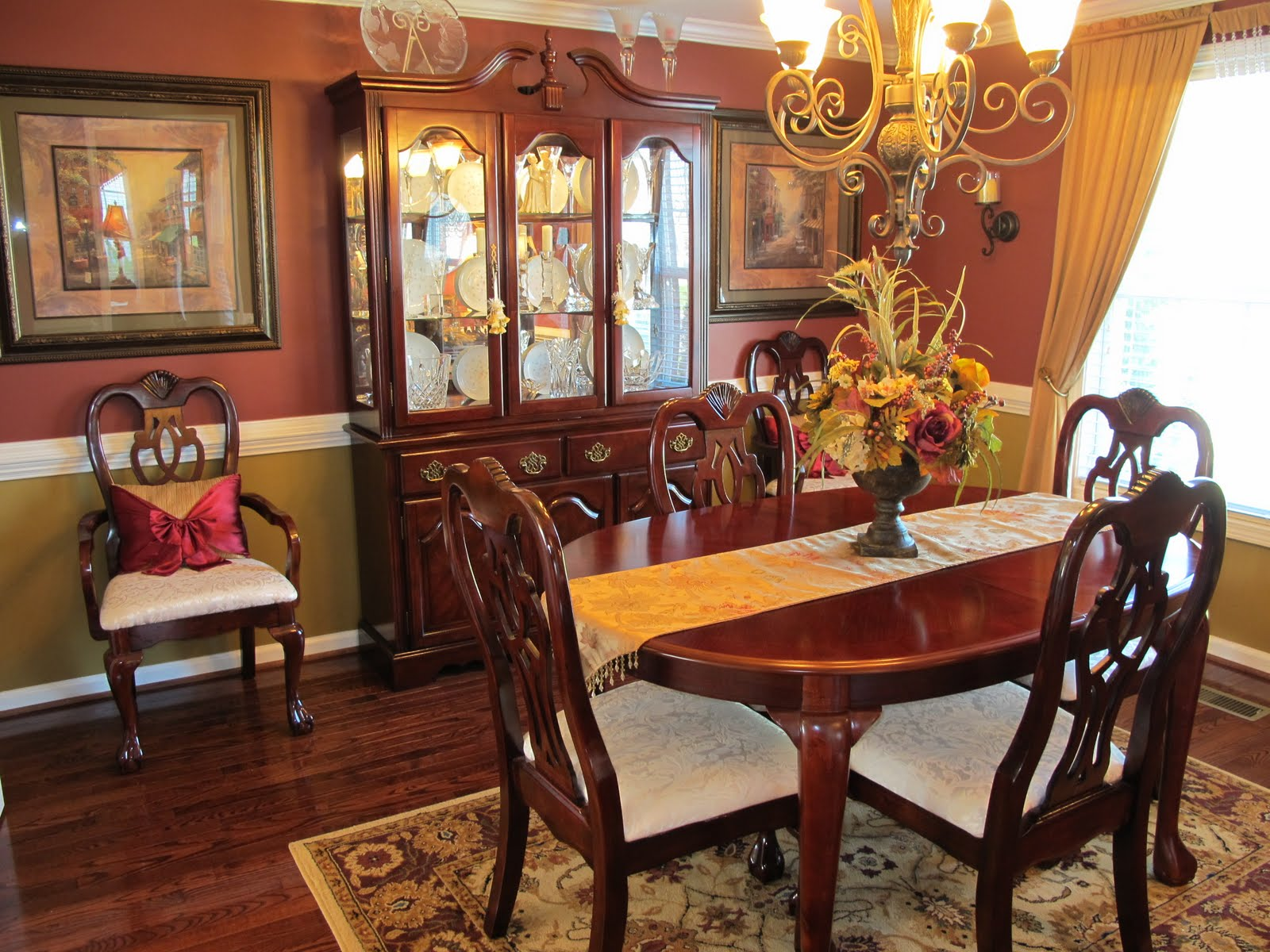 Charming Formal Dining Room Sets With Buffet And Ceiling Light For