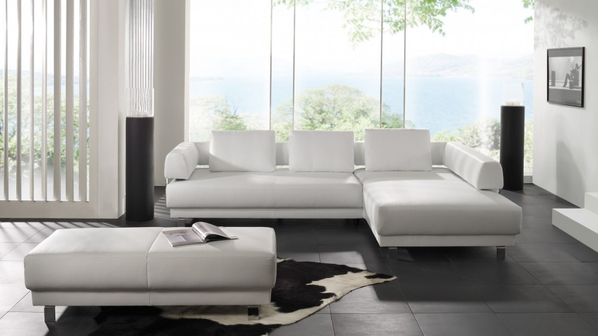 Charming White Leather Sectional For Living Room With White Leather Sectional Sofa