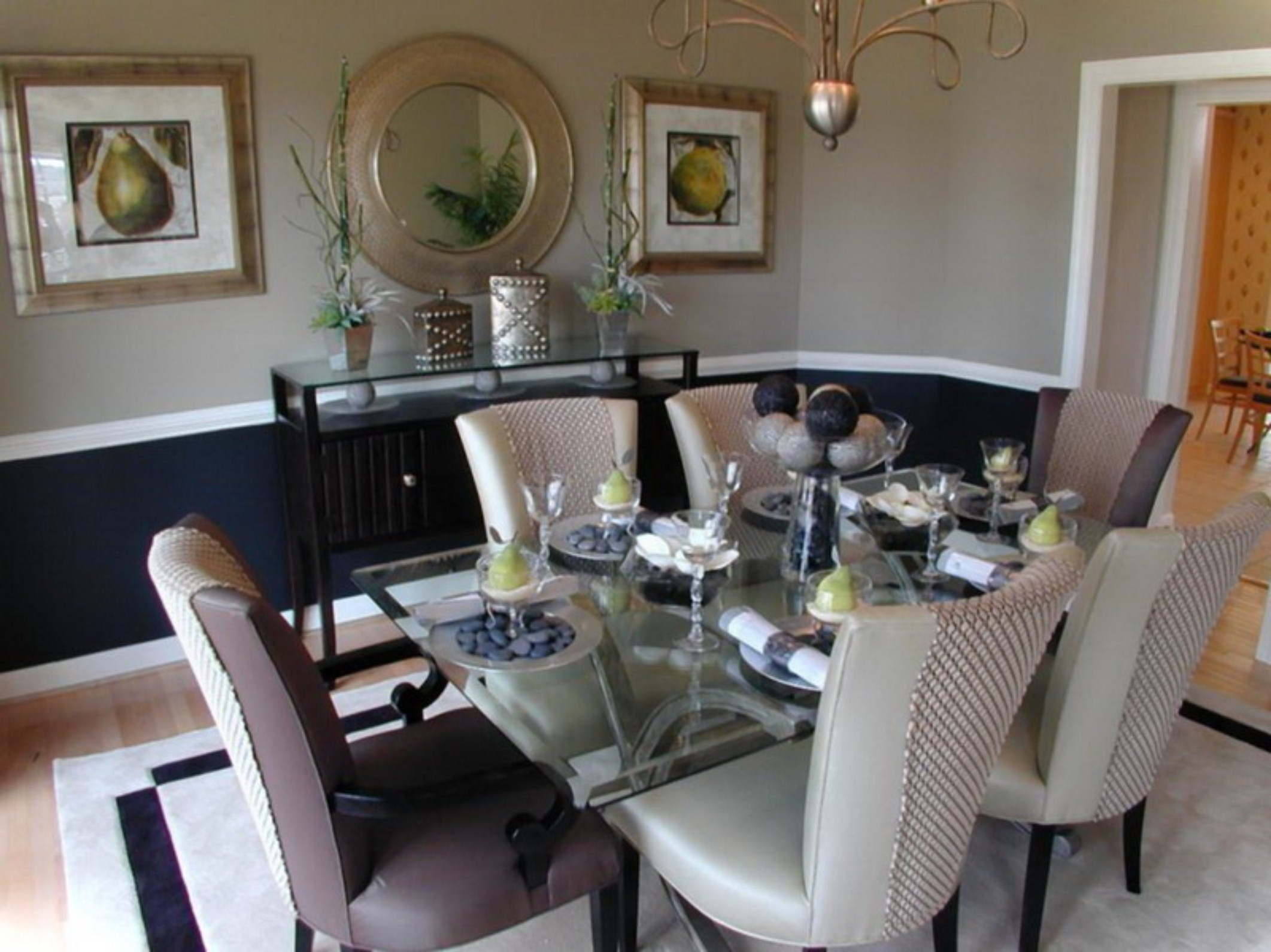 Chic formal-dining-room-sets-with-buffet and ceiling light for home design with modern formal dining room sets
