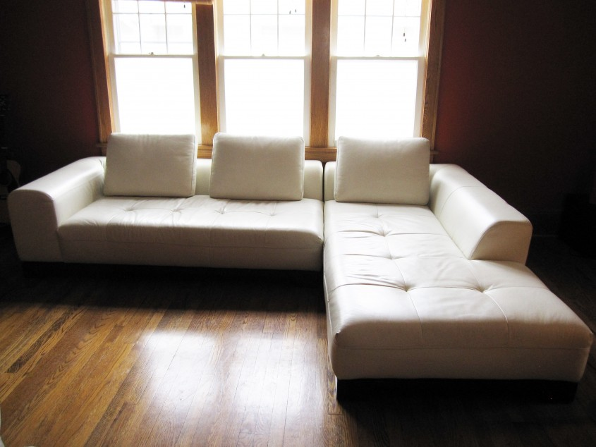 Chic White Leather Sectional  For Small Spaces Living Room With White Leather Sectional Sofa
