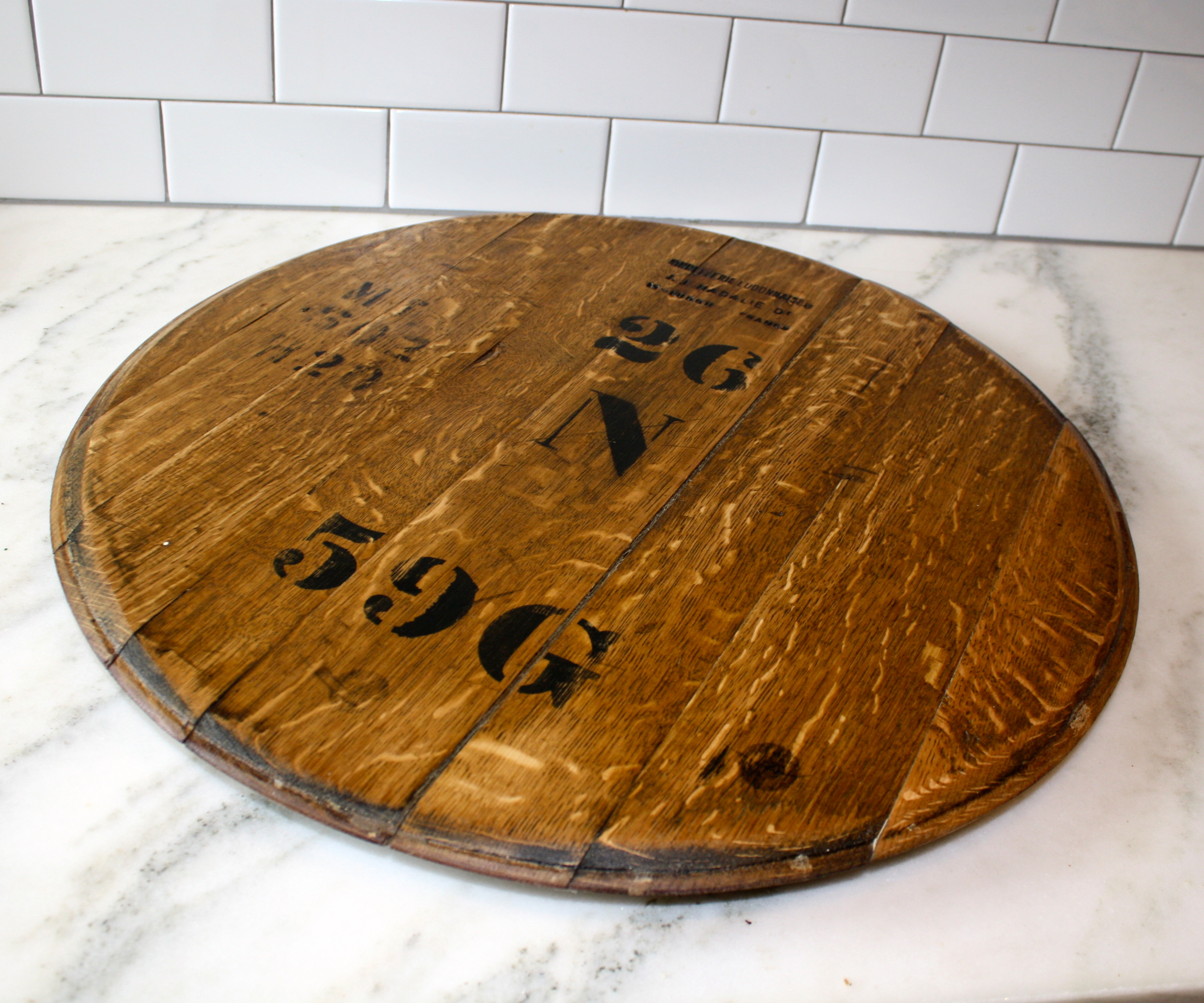 Chic wine barrel lazy susan for furniture accessories ideas with personalized wine barrel lazy susan
