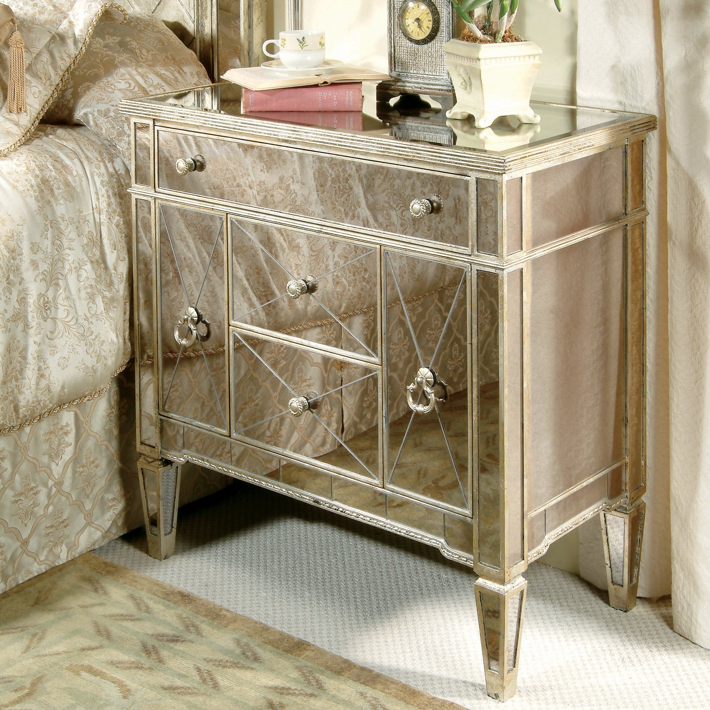 Classy mirror nightstand for bedroom furniture with mirrored nightstand