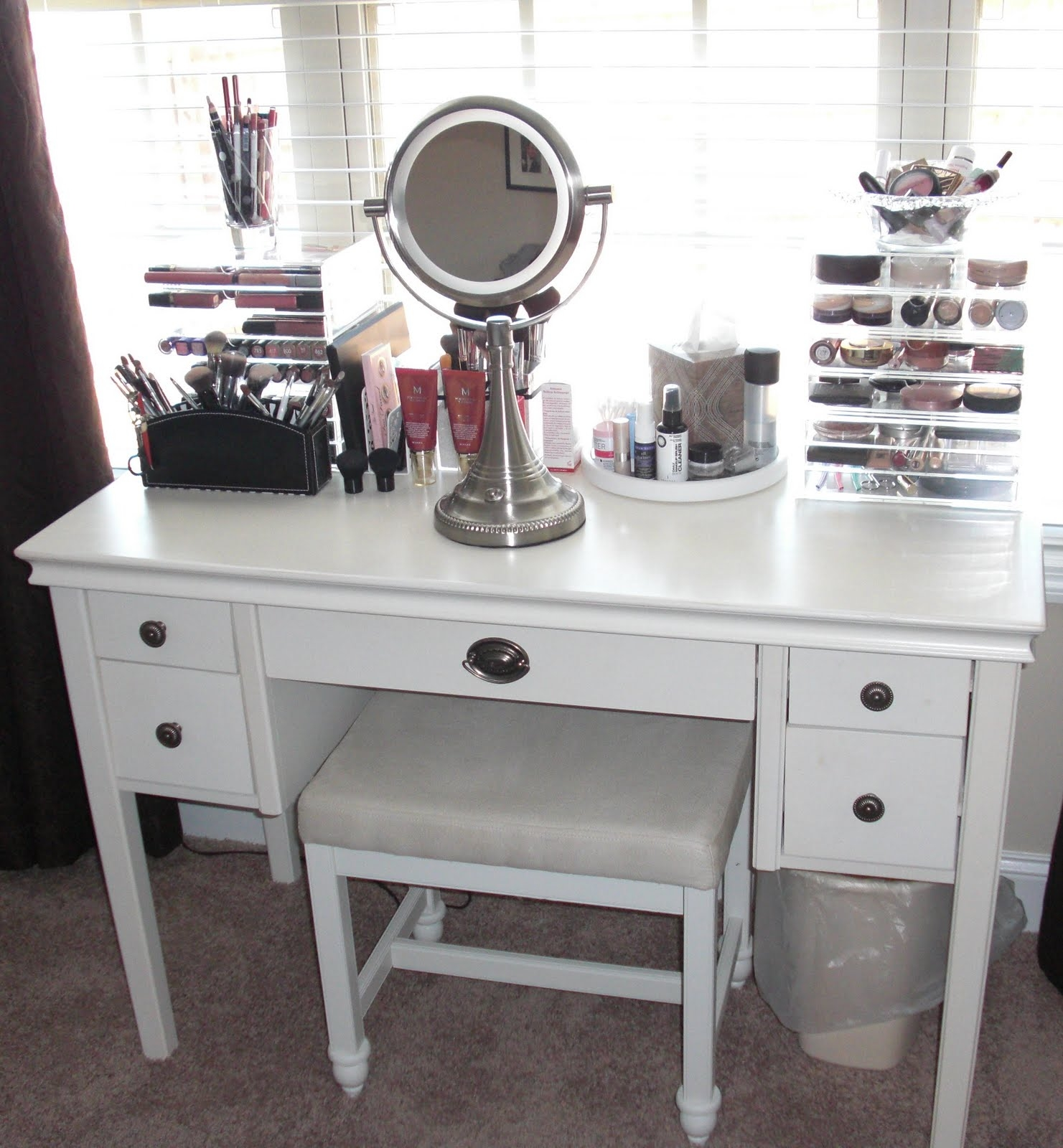 Makeup Storage intended for Mirrored Makeup Storage - Bedroom Design Ideas