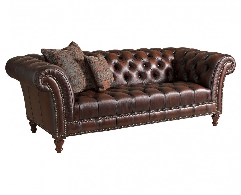 Futura Leather Furniture Brown Leather Tufted Sofa Wing Arms With Regard To Futura Leather Sofas