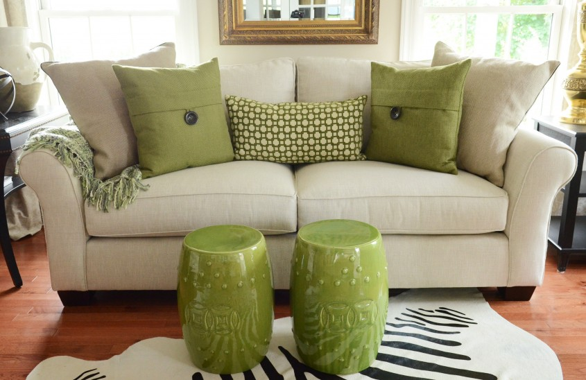 Comfy Throw Pillows For Couch With Sofa On Laminate Flooring And Shade Table Lamp For Living Room With Decorative Throw Pillows For Couch