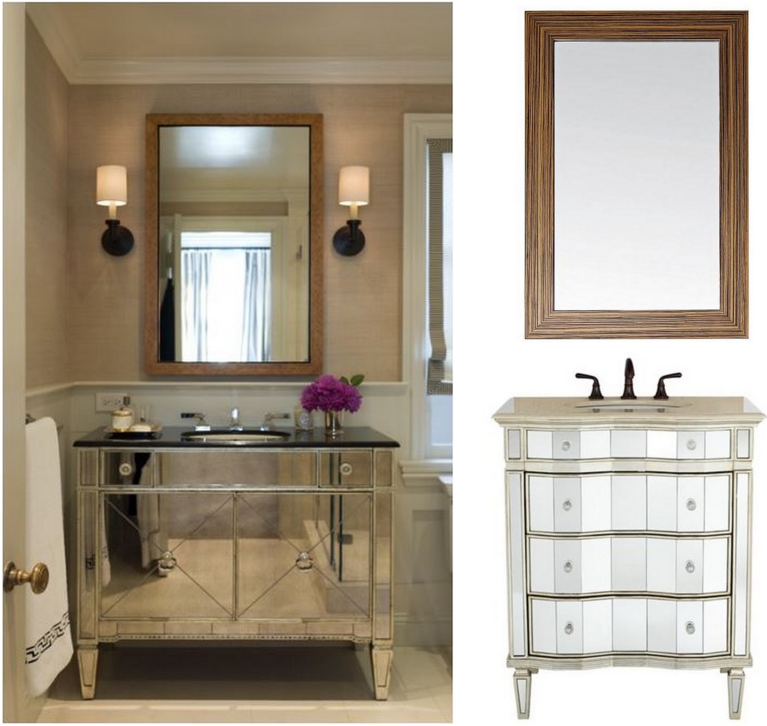 Cool mirrored vanity for home furniture and vanity mirror with lights