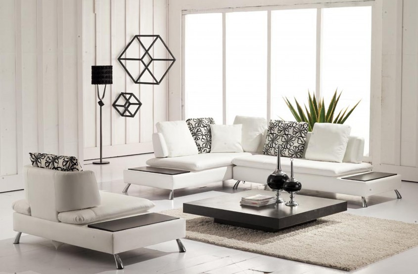 Cool White Leather Sectional  For Small Spaces Living Room With White Leather Sectional Sofa