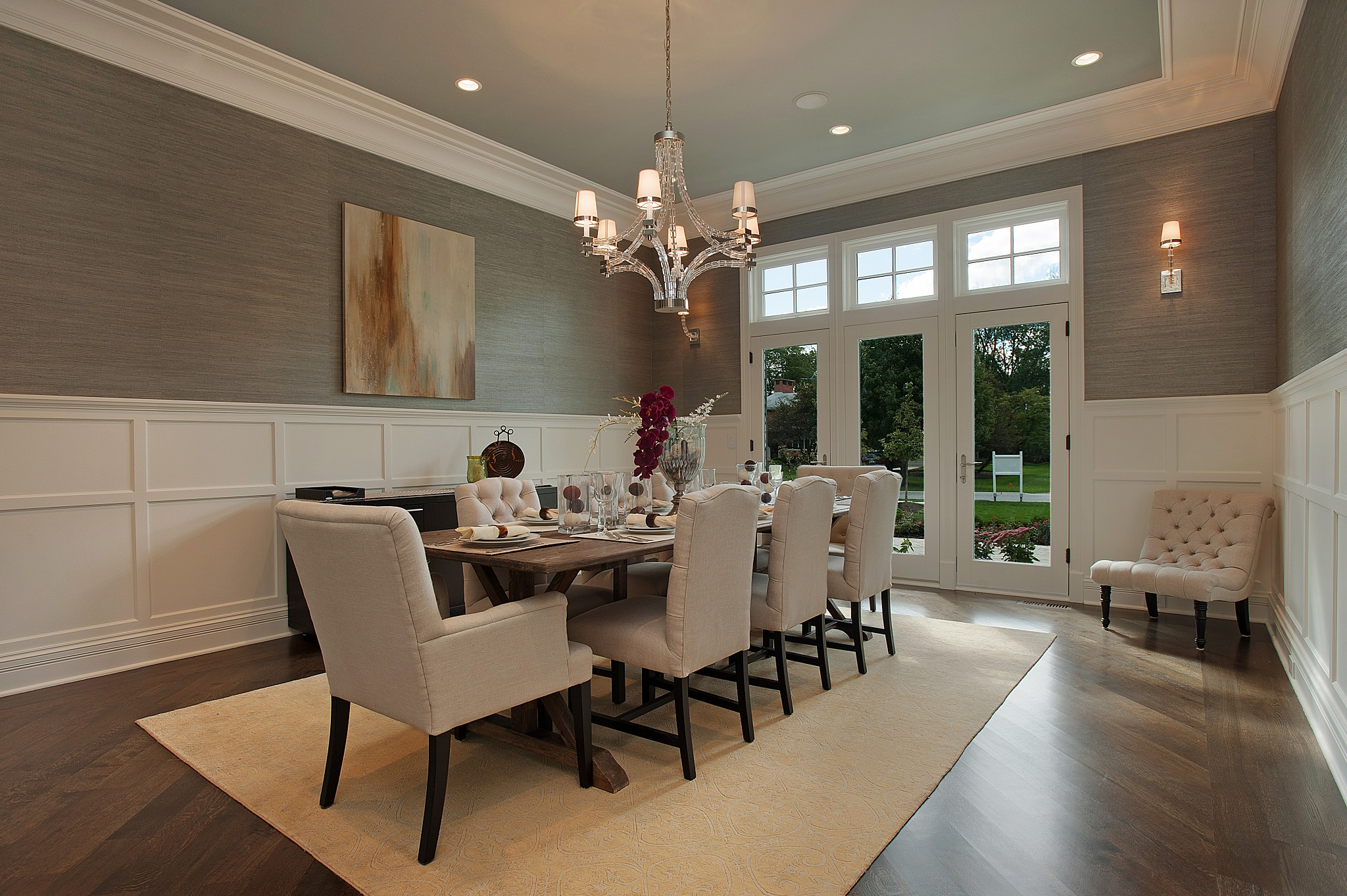 Cozy formal-dining-room-sets-with-buffet and ceiling light for home design with modern formal dining room sets