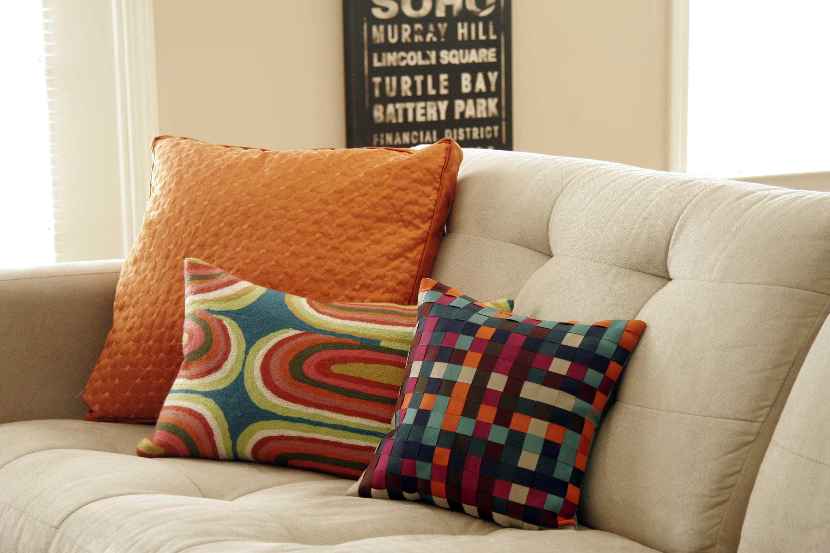 Cozy throw pillows for couch with sofa for living room with decorative throw pillows for couch