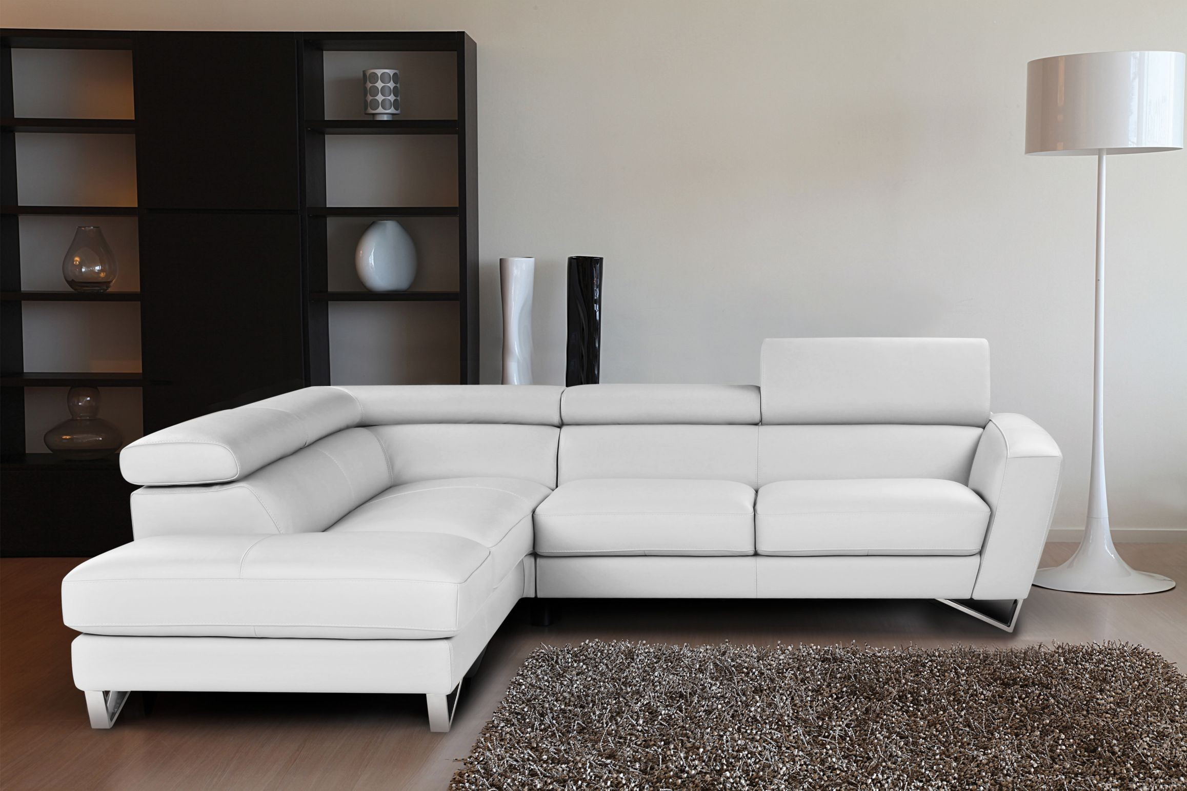 Living Room Design: Cozy White Leather Sectional For Small Spaces ...