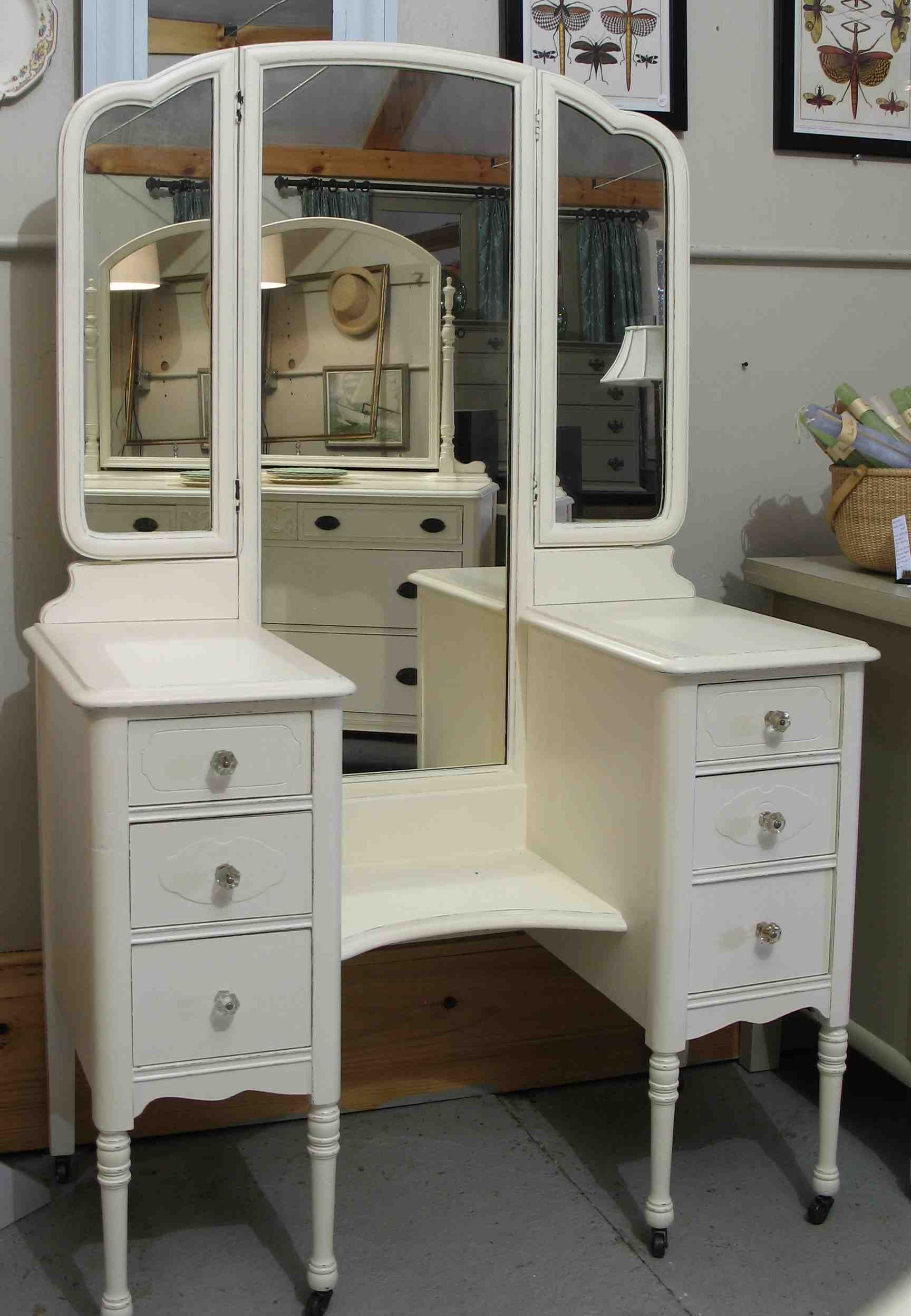 Antique White Painted Mahogany Vanity Table With Drawers Cabinet inside Mirrored Vanity Desk - Bedroom Design Ideas
