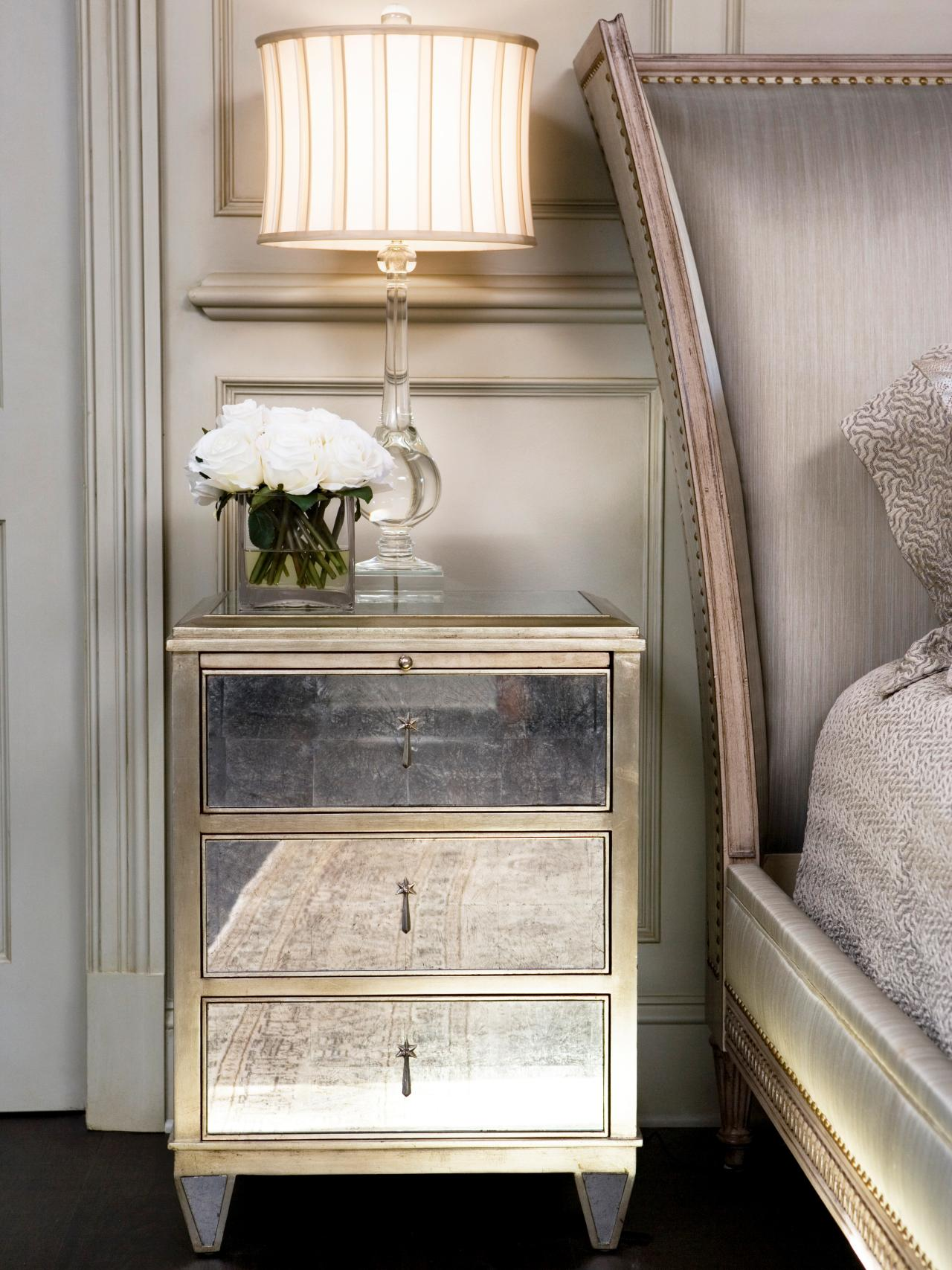 Cute mirror nightstand for bedroom furniture with mirrored nightstand