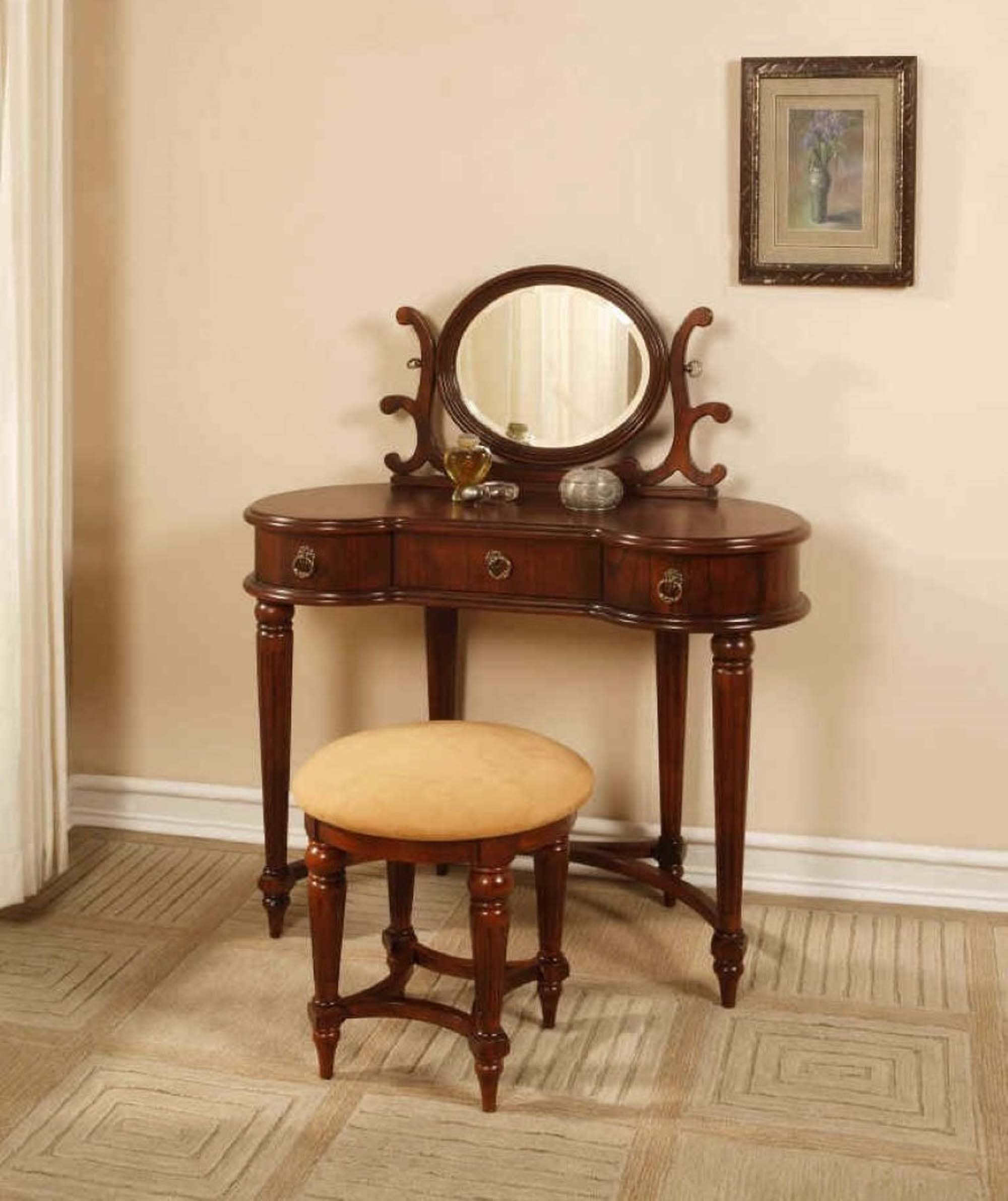 Furniture Vintage Vanity Table With Mirror And Bench Design Ideas within Small Mirrored Vanity - Bedroom Design Ideas