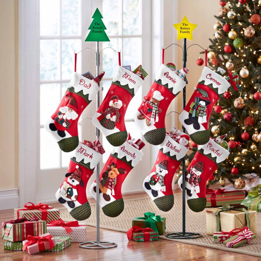 Excellent Stocking Holder For Interior Decor Ideas With Christmas Stocking Holders