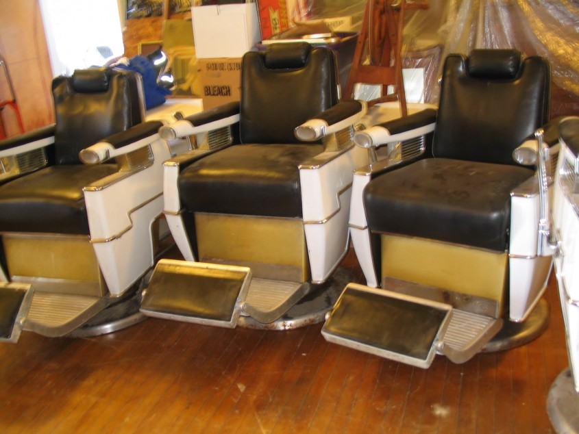 Photo Bar Chair : Antique Barber Chair Chrome Plating Barber With Regard To Belmont Barber Chairs For Sale