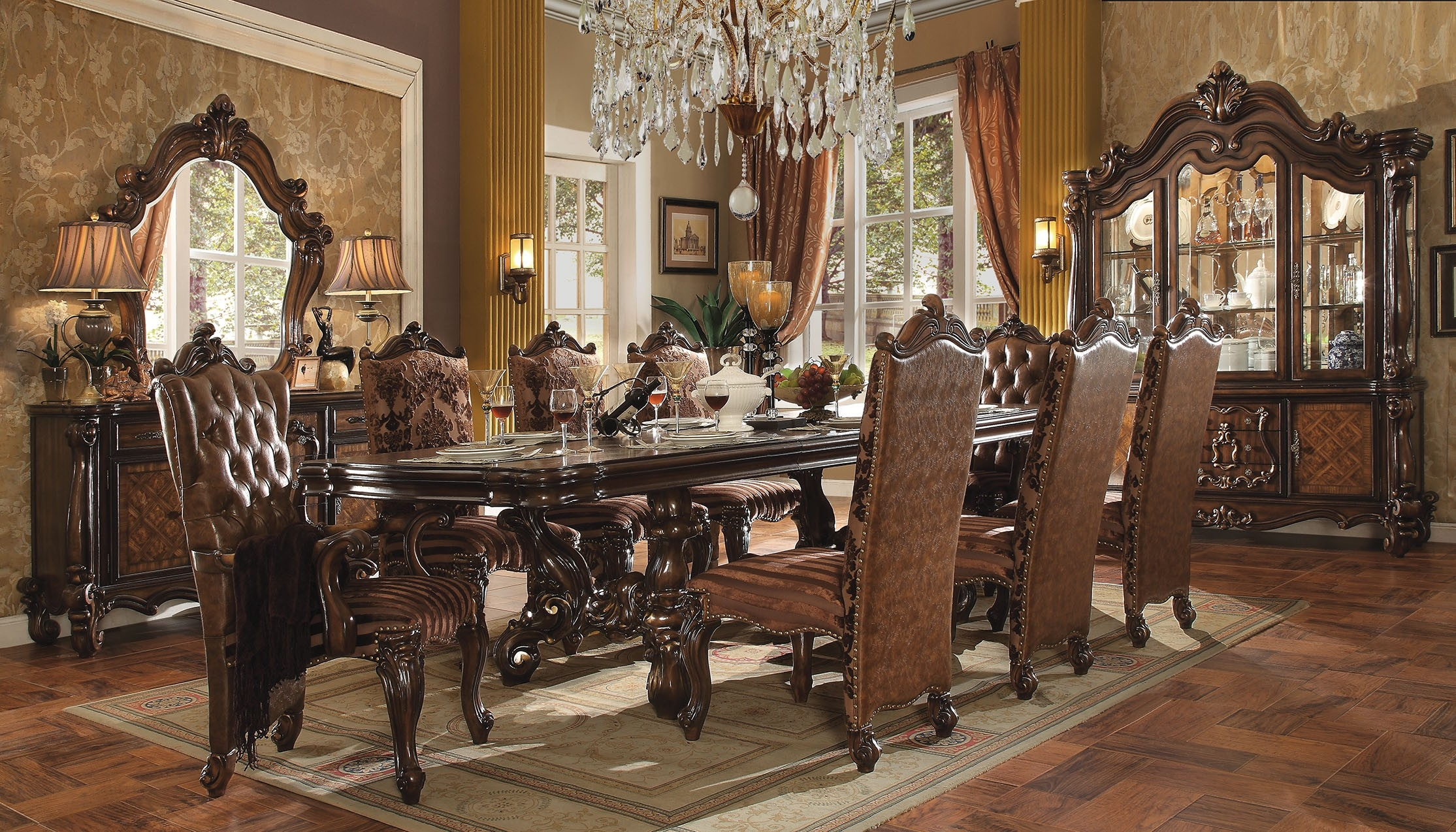 Exciting formal-dining-room-sets-with-buffet and ceiling light for dining room with modern formal dining room sets