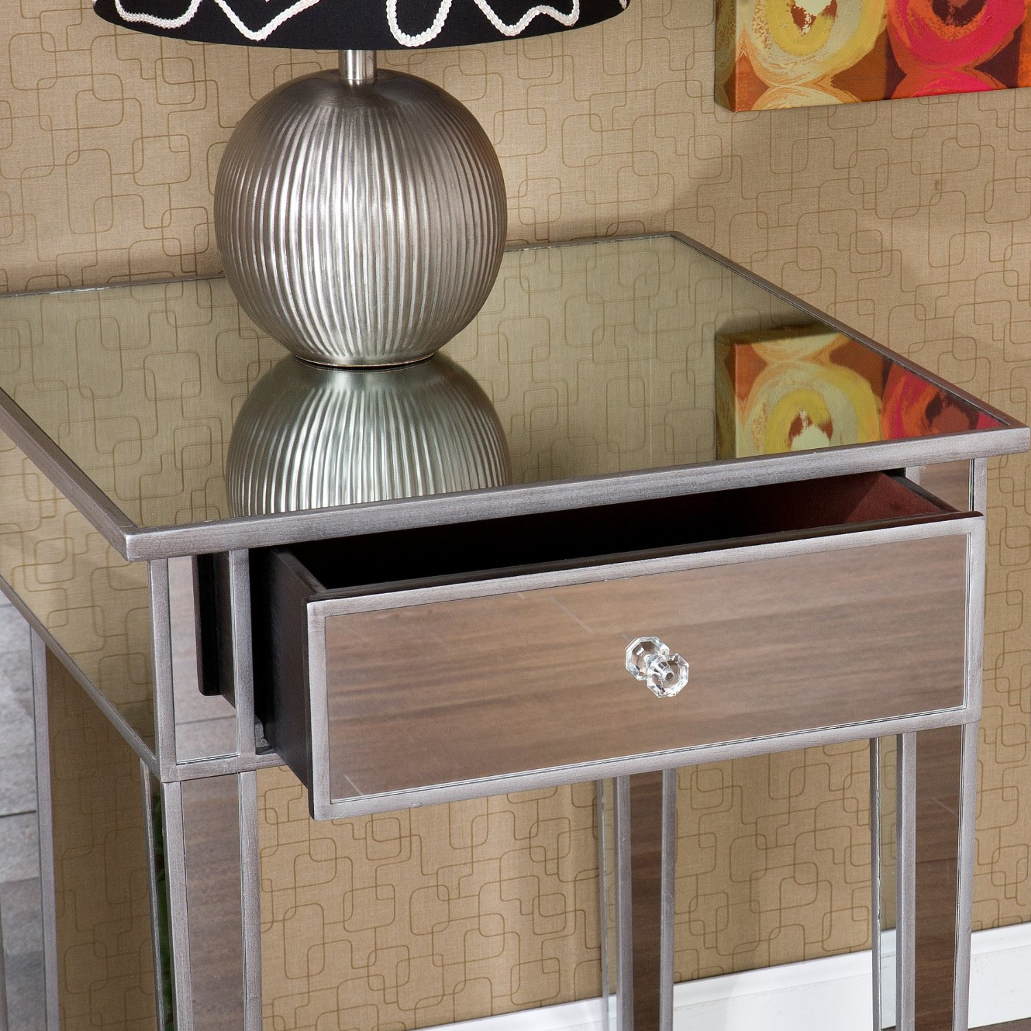 Exquisite mirror nightstand for bedroom furniture with mirrored nightstand