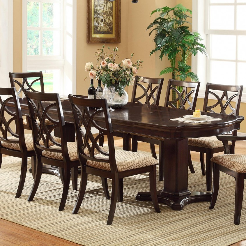 Exquisite Pedestal Dining Table And Chairs For Dining Room With Round Pedestal Dining Table