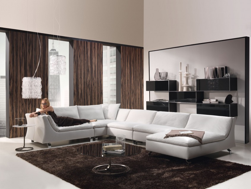 Fascinating White Leather Sectional  For Small Spaces Living Room With White Leather Sectional Sofa