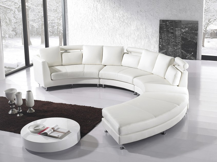 Gorgeous White Leather Sectional For Living Room With White Leather Sectional Sofa