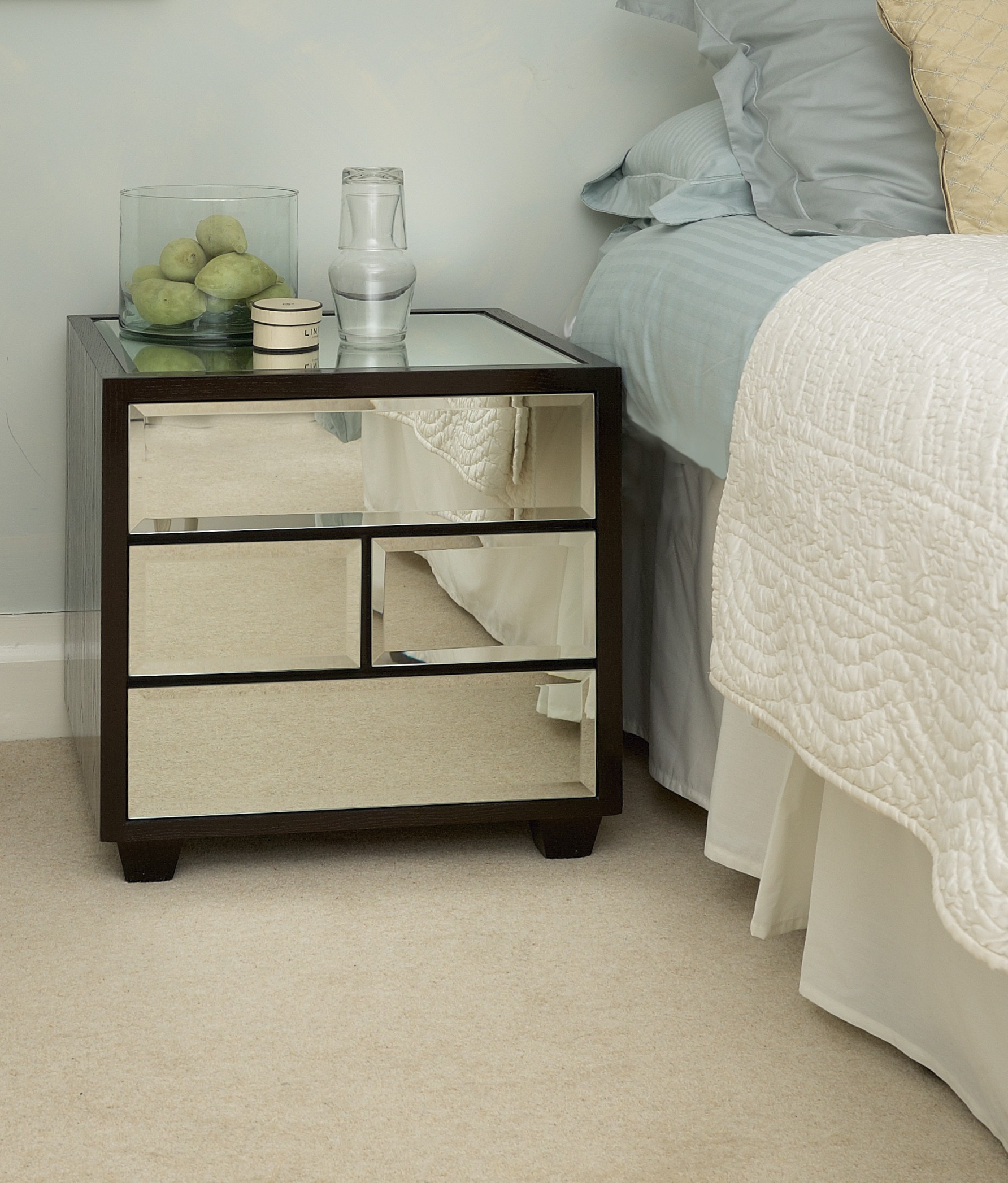Great mirror nightstand for bedroom furniture with mirrored nightstand