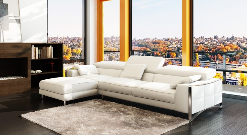 Great White Leather Sectional  For Small Spaces Living Room With White Leather Sectional Sofa