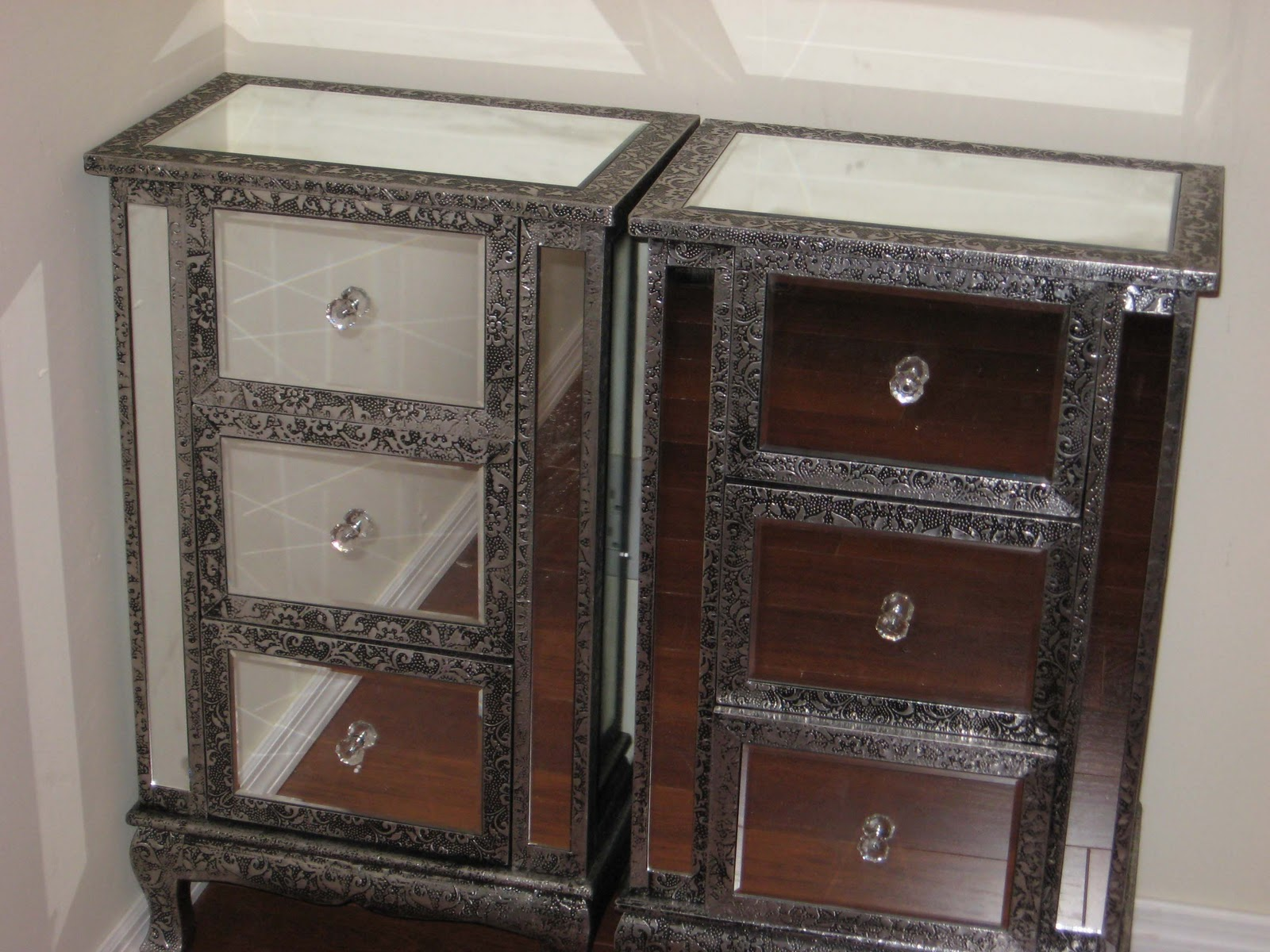 Incredible mirror nightstand for bedroom furniture with mirrored nightstand