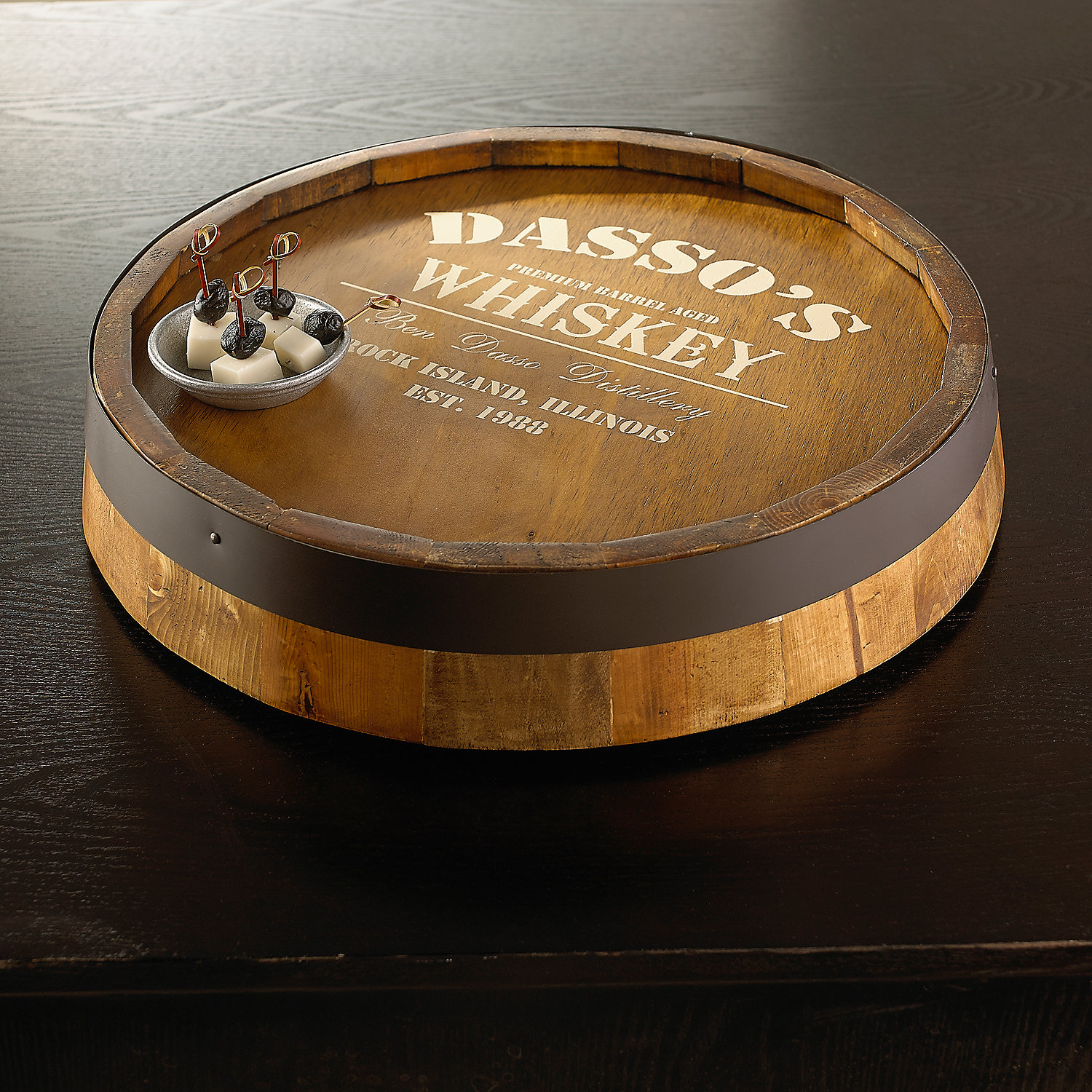 Interesting wine barrel lazy susan for furniture accessories ideas with personalized wine barrel lazy susan