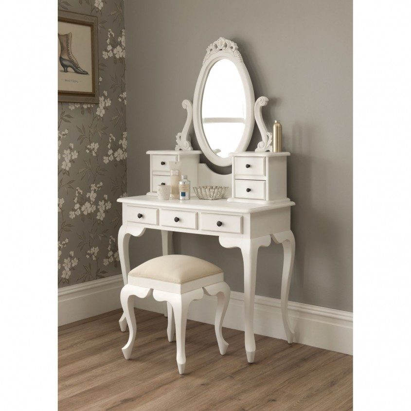 Awesome White Lacquer Solid Wood Corner Bedroom Vanity With Throughout Small Mirrored Vanity