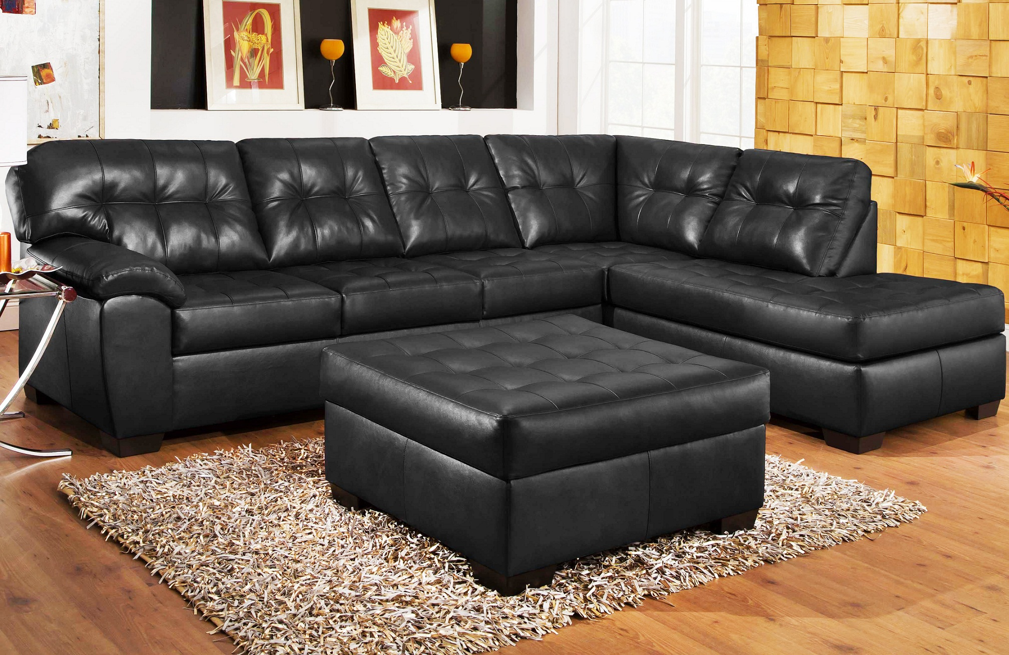 Amazing black leather sectional for elegant living room design with black leather sectional sofa