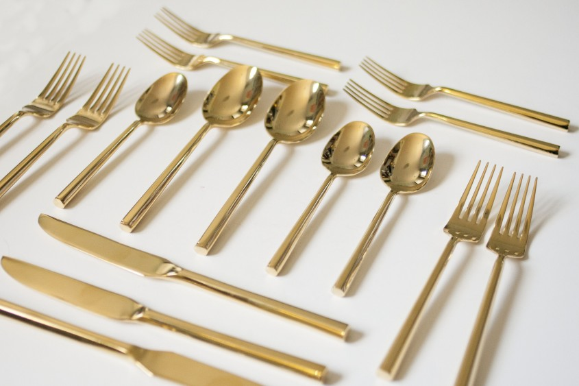 Attractive Gold Flatware For Kitchen And Dining Sets Ideas With Gold Flatware Set
