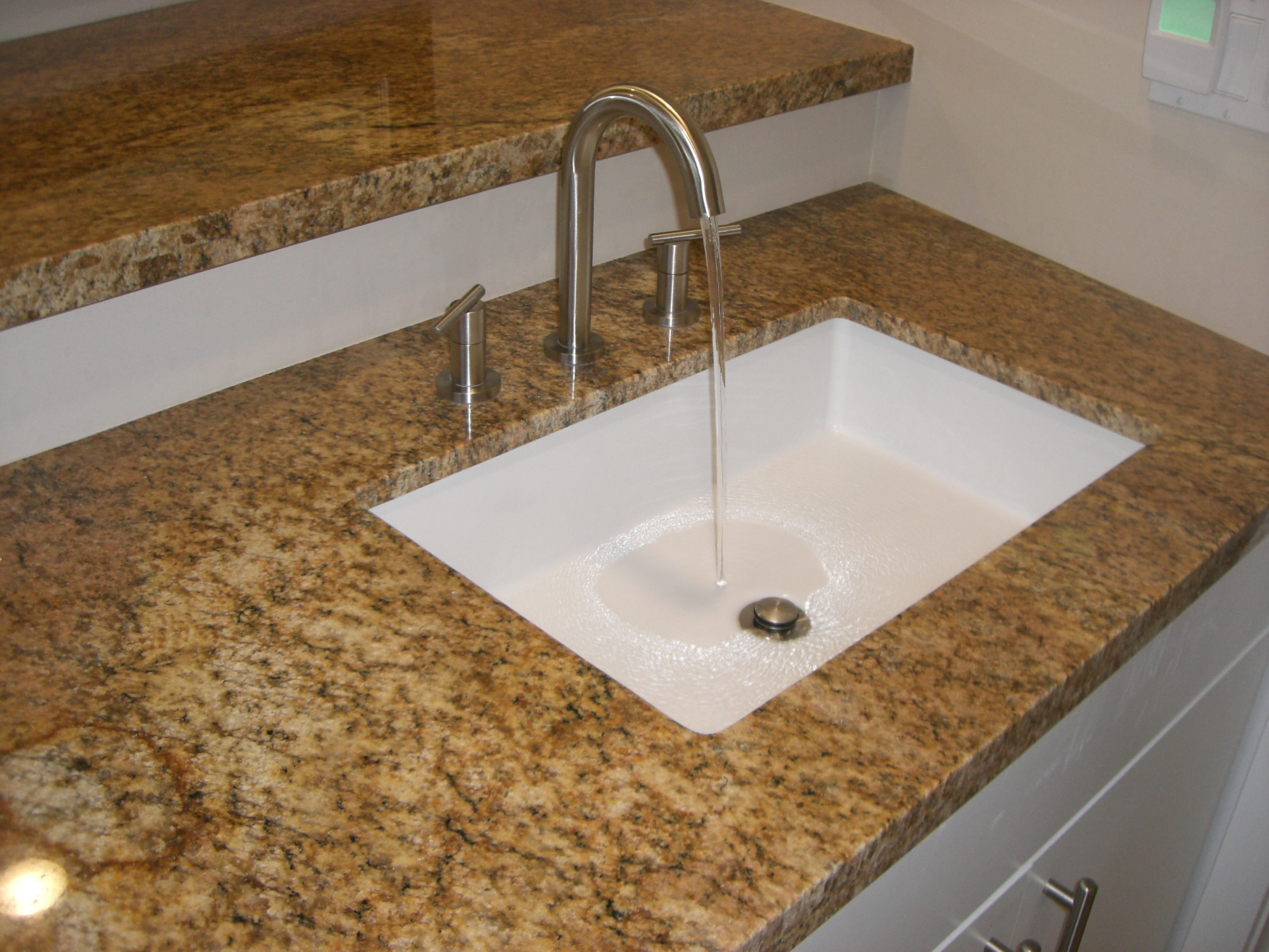 Attractive mirabelle sinks with stainless steel-faucet and granite top for bathroom with mirabelle undermount sink