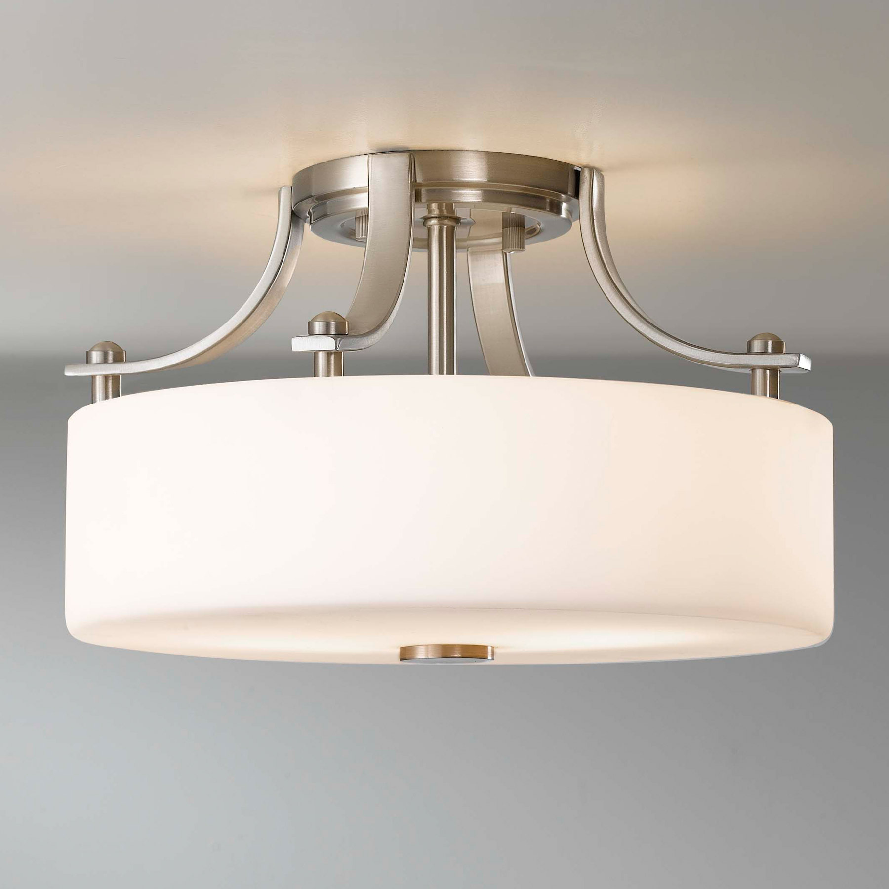 Attractive semi flush ceiling light for home lighting design with brushed nickel semi flush ceiling light