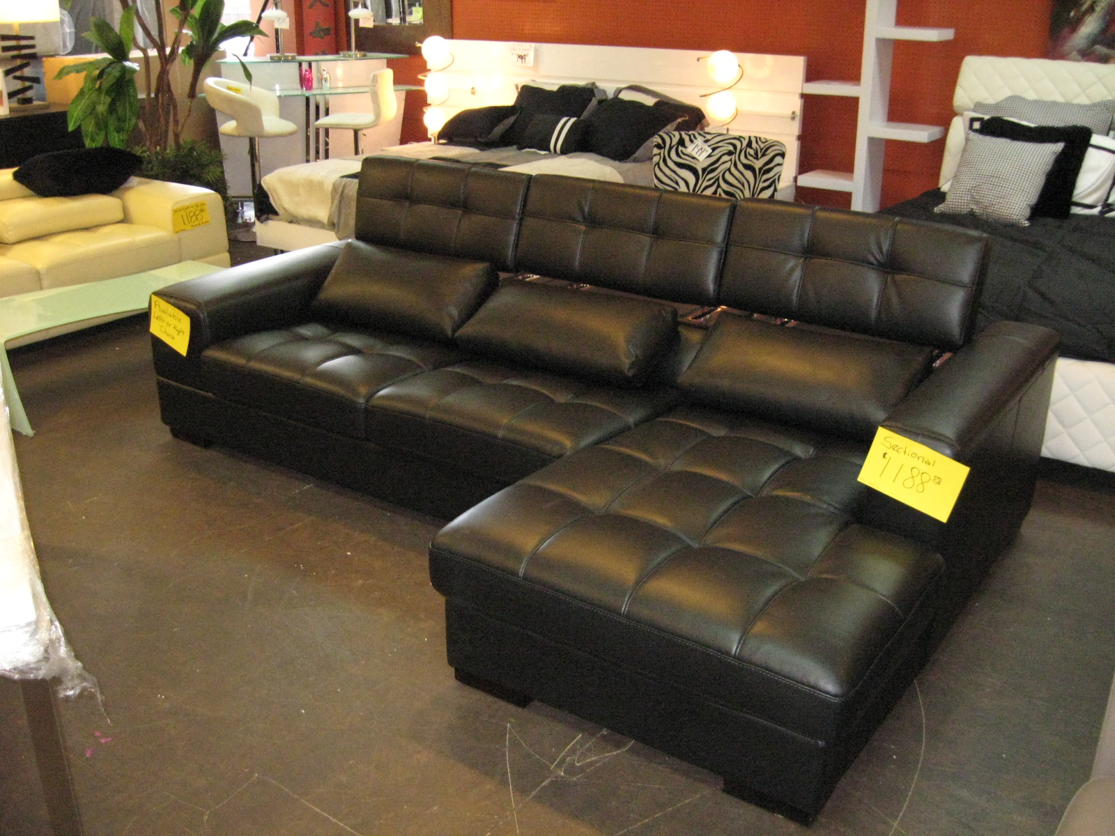 Awesome black leather sectional for elegant living room design with black leather sectional sofa